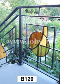 balustrada cu decor modern din policarbonat