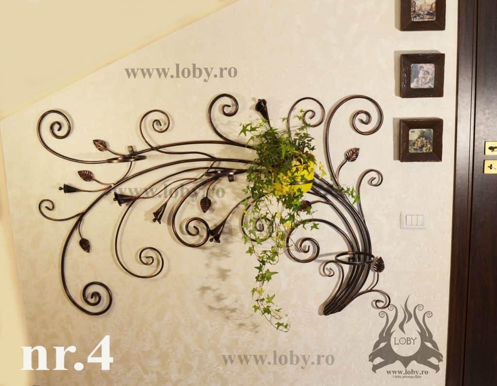 Pret suport flori fier forjat patru ghivece 2
