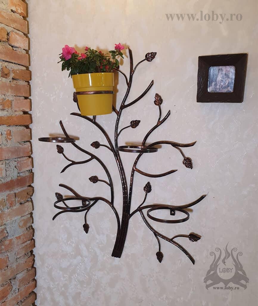 Suport cinci ghivece copacel cu o floare