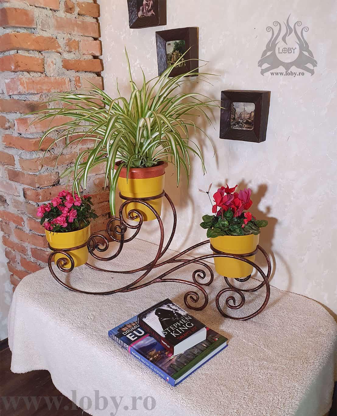 Suport flori din fier forjat rotund